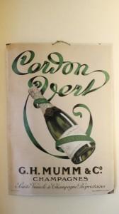 Oude reclameplaat voor Cordon Vert van Mumm.